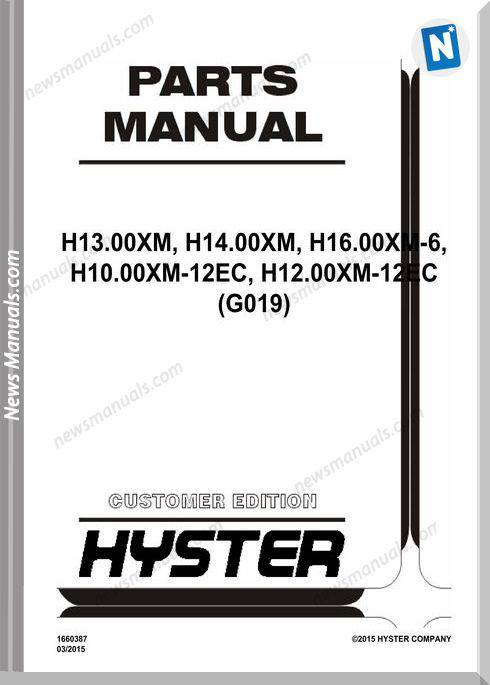 Hyster Forklift H13 00Xm H16 00Xm Parts Manual