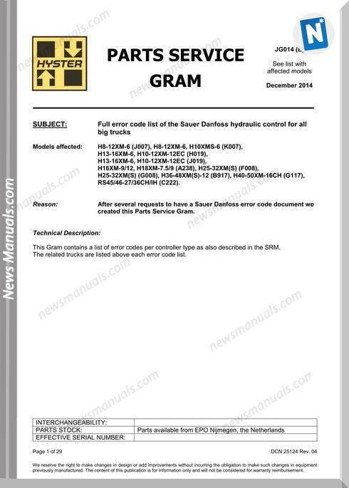 Hyster Full Error Codes List H8 H13 H16 Sauer Danfoss