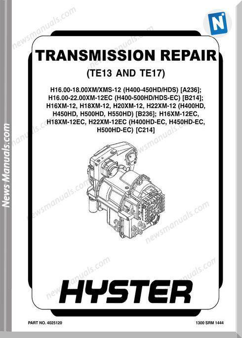 Hyster Te13 Te17 Models English Transmission Repair