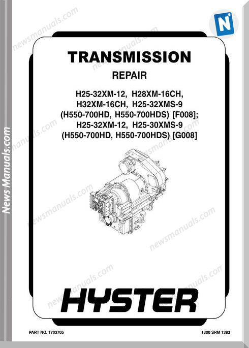Hyster Transmission H25 H28 H32 H550 G008 Repair Manual