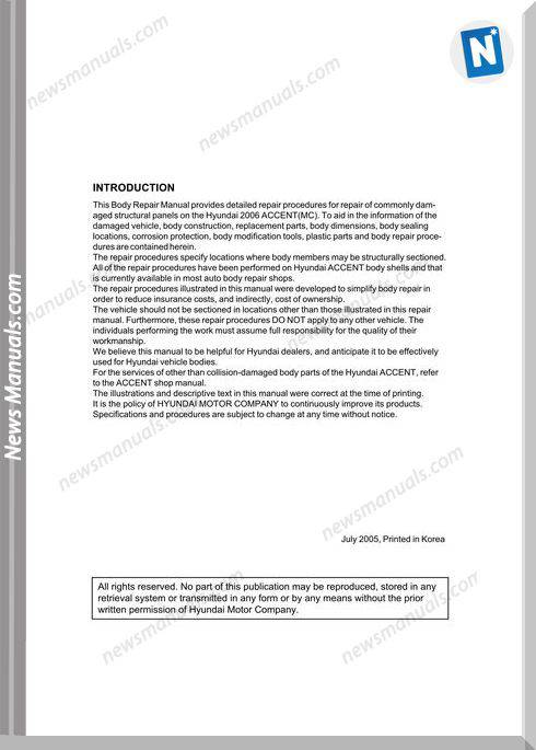 Hyundai Accent 2006 Body Repair Manual