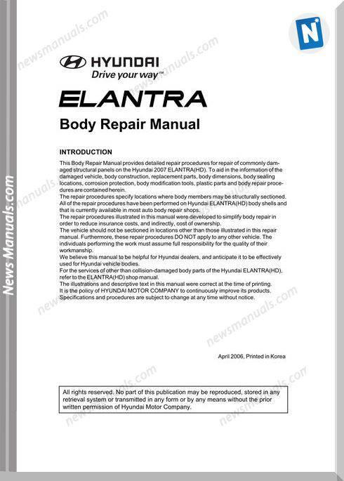 Hyundai Ealntra Models 2006 Year Body Repair Manual