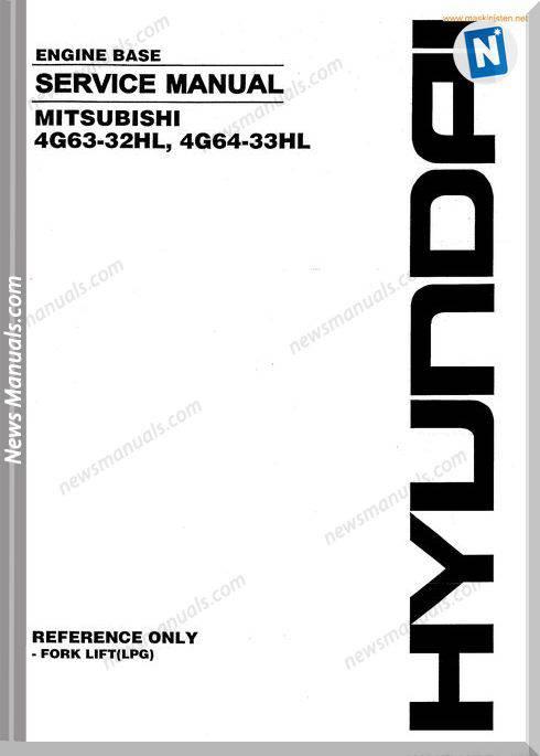 Hyundai Forklift Mitsubishi 4G63 4G64 Service Sec Wat