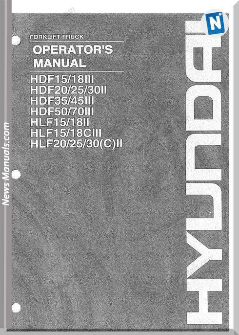 Hyundai Forklift Q72 Hdf15 18Iii Operator Manual