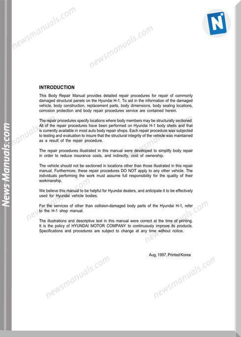Hyundai H-1 2001 Body Parts Catalogue Manual