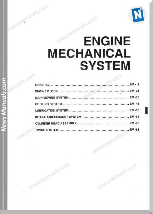 Hyundai, Kia D4Ea - D3Ea Engine Mechanical Manual
