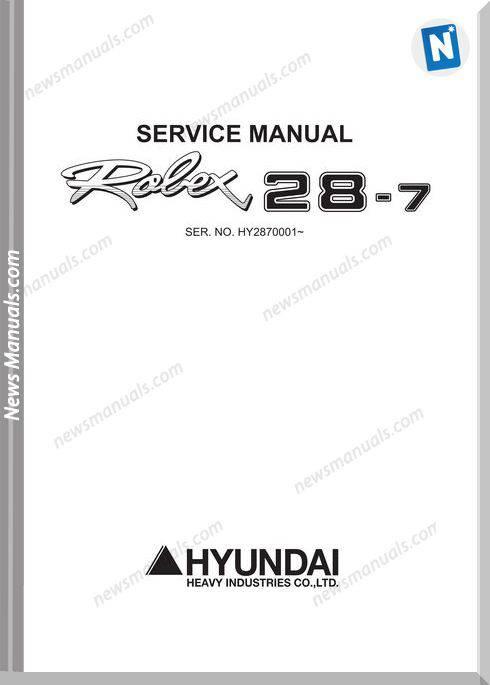 Hyundai Mini Excavators R28 7Sm Service Manual