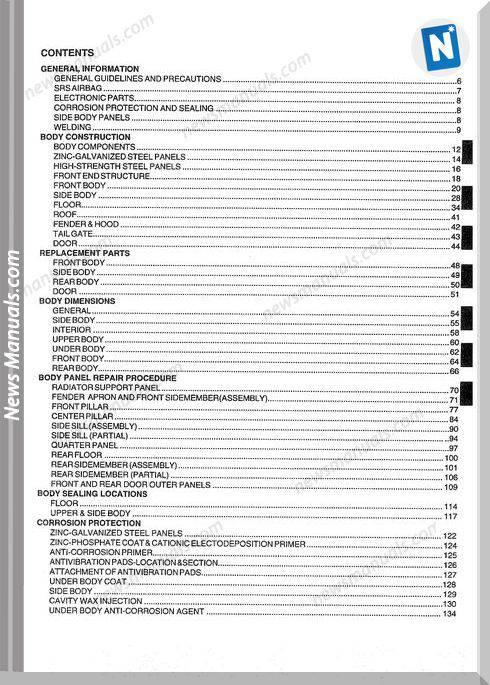 Hyundai Santafe Models 2000 Year Body Repair Manual