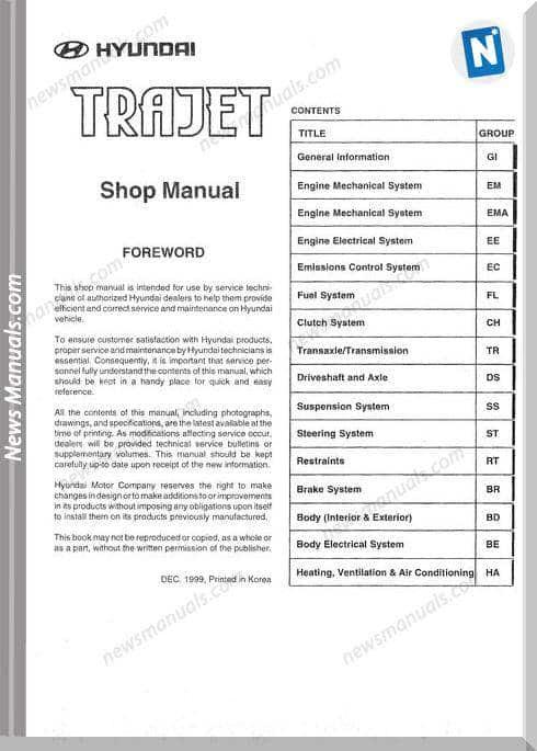 Hyundai Trajet Shop Manual