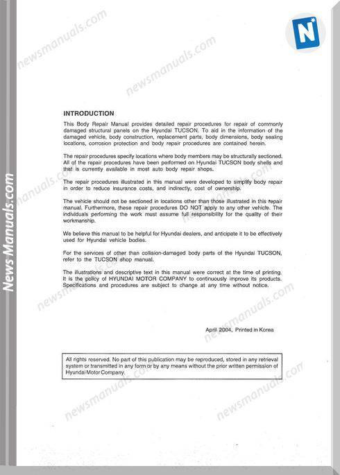 Hyundai Tucson 2004 Body Repair Manual