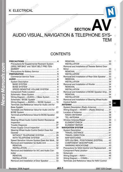 Infinity Coupe G35 2007 Audio Visual Navigation Repair Manual