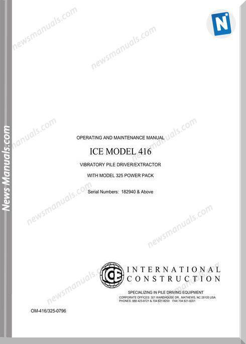 International Ice 416 Operation Maintenance Manual