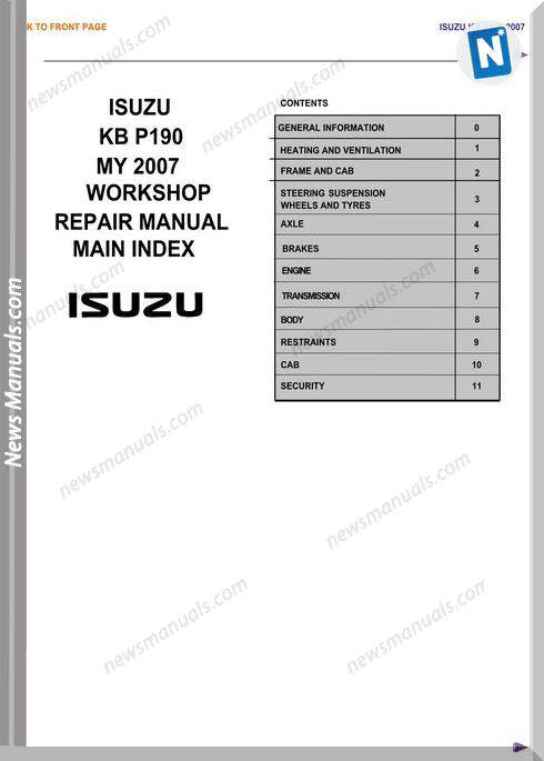Isuzu Kb P190 2008 2011 Workshop Manual