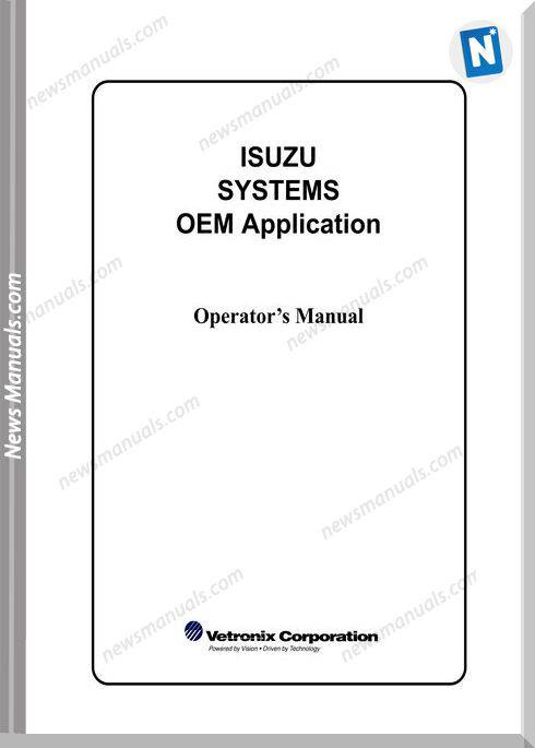 Isuzu Systems Oem Application Operators Manual
