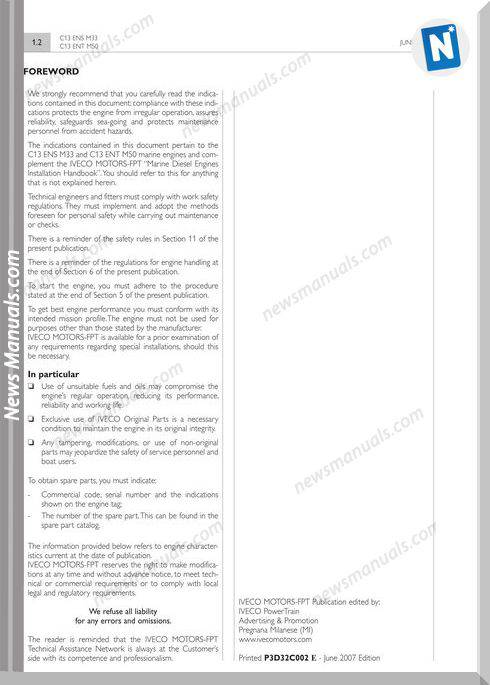 Iveco C13ens M33 C13ent M50 Technical And Repair Manual