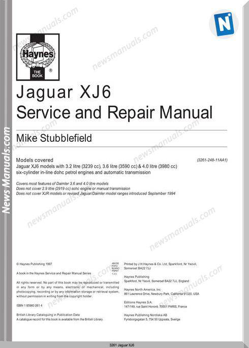 Jaguar Xj6 Service And Repair Manual