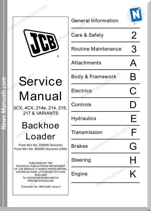 Jcb 3Cx 4Cx 214E 215 217 Service Repair Workshop Manual