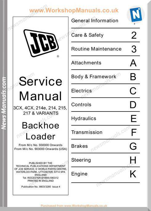 Jcb Backhoe Loader 3Cx 4Cx Service Manual