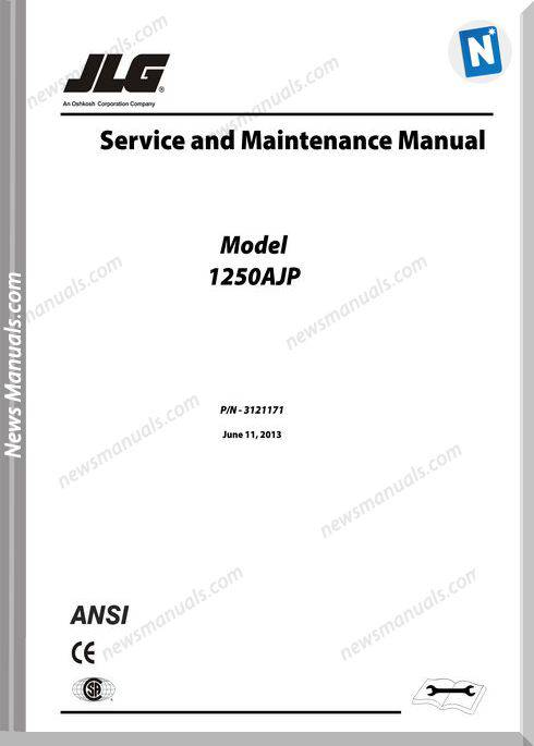 Jlg 1250Ajp Boom Lift Service And Maintenance Manual