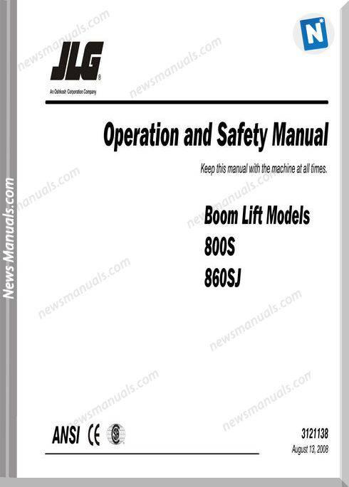 Jlg 800S 860Sj Operation 3121138 08 13 08 Global
