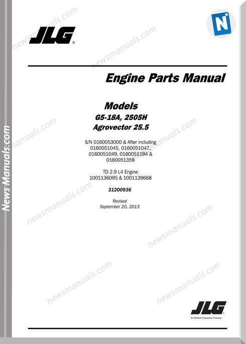 Jlg G5 18A 2505H Telehandler Engine Parts Manual
