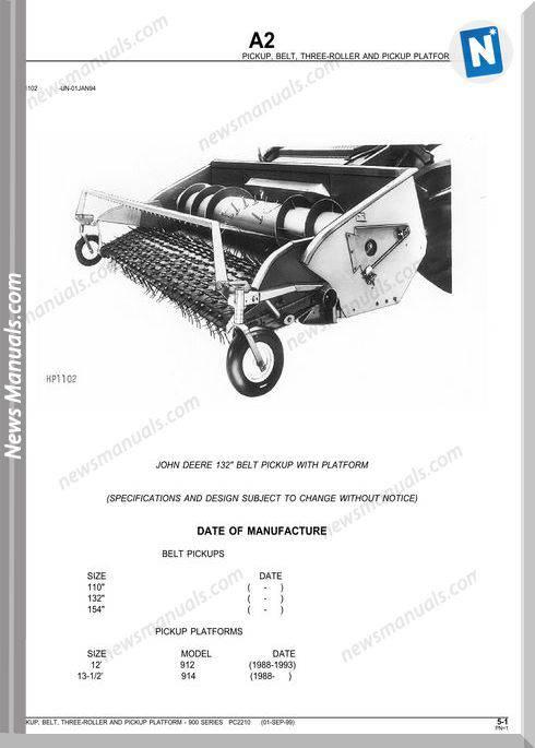 John Deere 132 Belt Pickup With Platform Parts Catalog