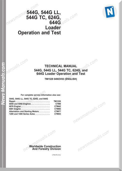 John Deere 544G Ll 544G Tc 624G 644G Operation Manual