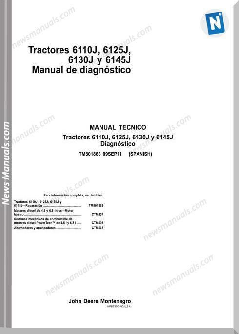 John Deere 6110J, 6125J, 6130J Y 6145J Workshop Manual