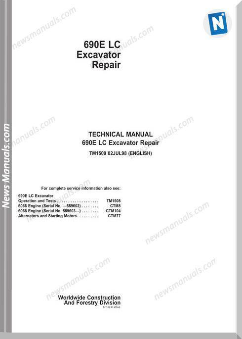 John Deere 690Elc Excavator Engine 6068 Workshop Manual