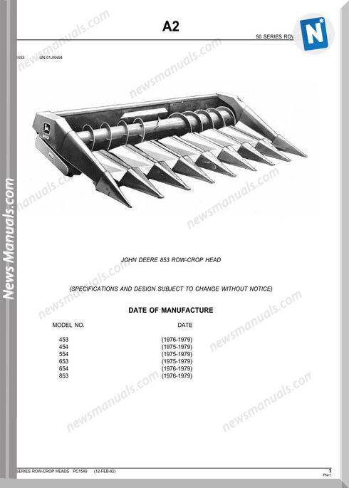 John Deere 853 Row-Crop Head Parts Catalog