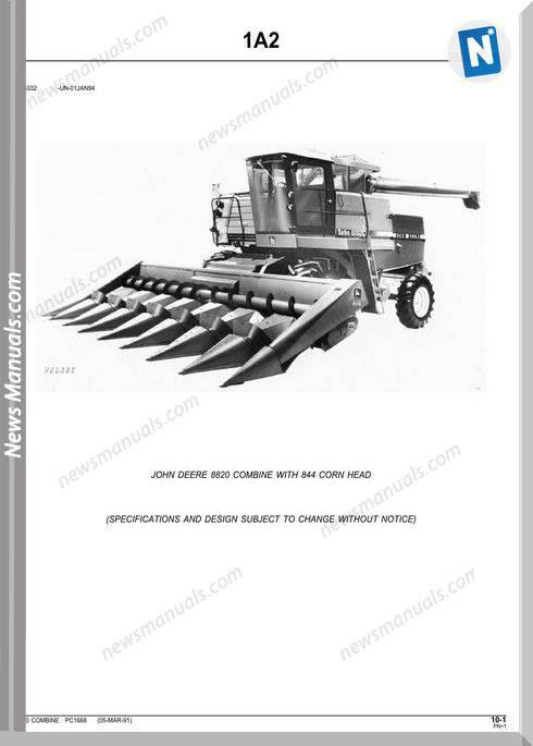 John Deere 8820 Combine Parts Catalog