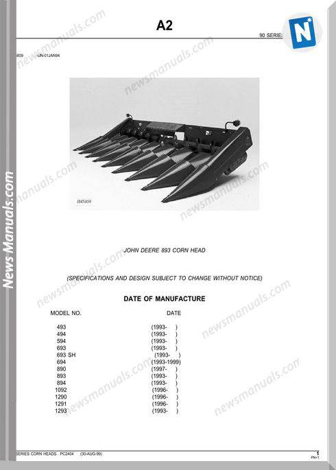 John Deere 893 Corn Head Parts Catalog
