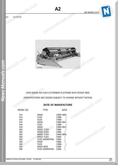 John Deere 924 Flex Cutterbar Platfor Parts Catalog
