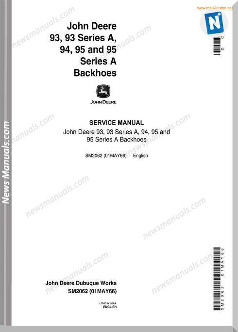 John Deere 93 95 Backhoe Service Manual En Sec Wat