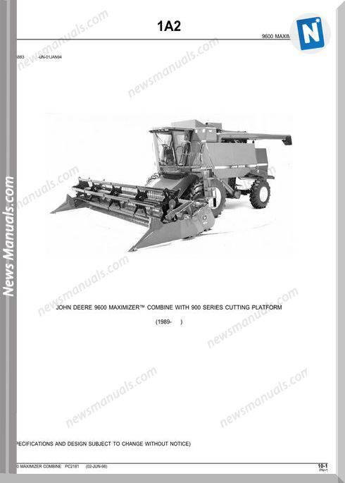John Deere 9600 Parts Catalog