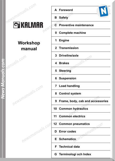 Kalmar Dce90 180 Dce 70 23E3 70 35E4 2006 Workshop Manual