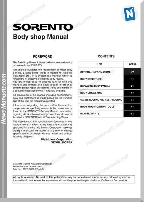 Kia 16 Kia Sorento Body Shop Manual 2002 2008