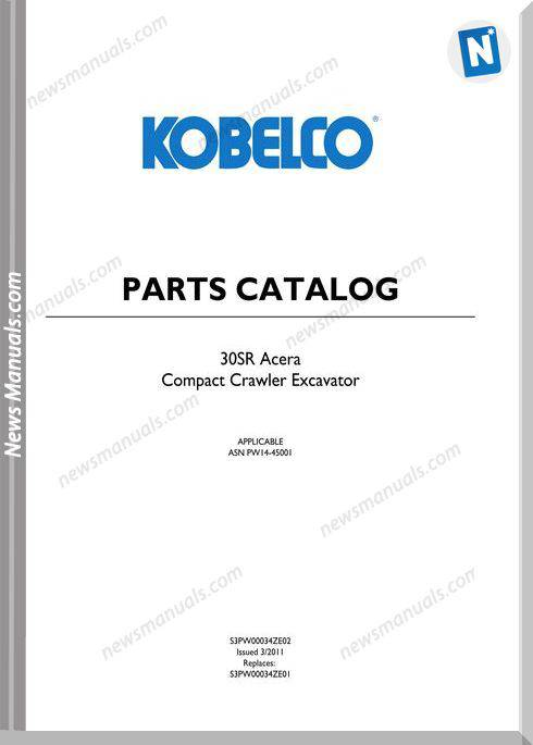 Kobelco 30Sr Acera Compact Excavator Parts Manual