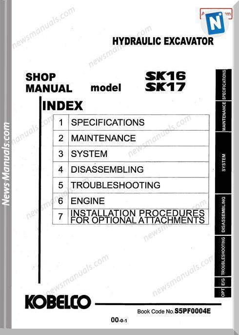 Kobelco Sk16 Sk17 Hydraulic Excavator No S5Pf0004E