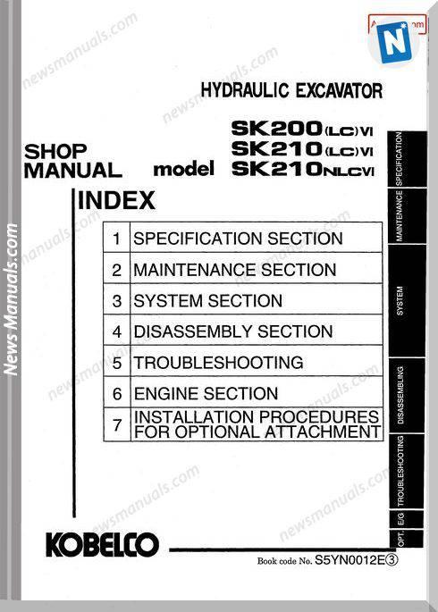 Kobelco Sk200 Lc Vi Sk210 Lc Vi Sk210Nlcvi Hydraulic Excavator S5Yn00012E