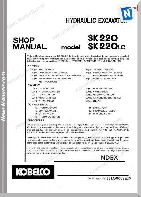 Kobelco Sk220 Sk220Lc Hydraulic Excavator No S5Lq0005E
