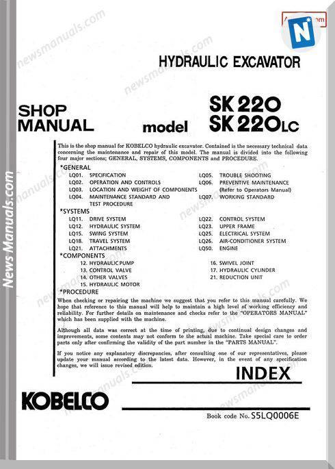 Kobelco Sk220 Sk220Lc Hydraulic Excavator No S5Lq0006E