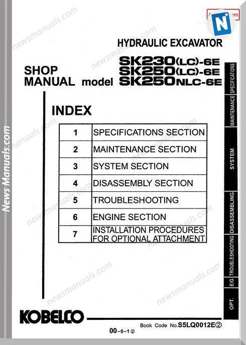 Kobelco Sk230Lc 6E Sk250Lc 6E Sk250Nlc 6E Shop Manual S5Lq0012E Gb