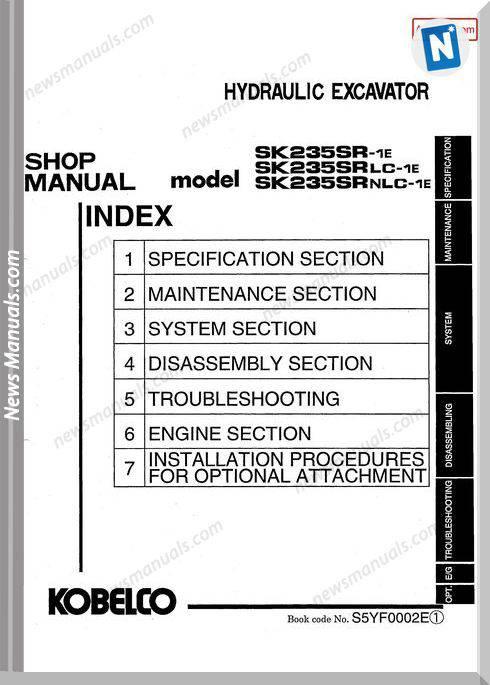 Kobelco Sk235Sr 1E Sk235Srlc 1E Sk235Srnlc 1E Shop Manual S5Yf0002E Gb
