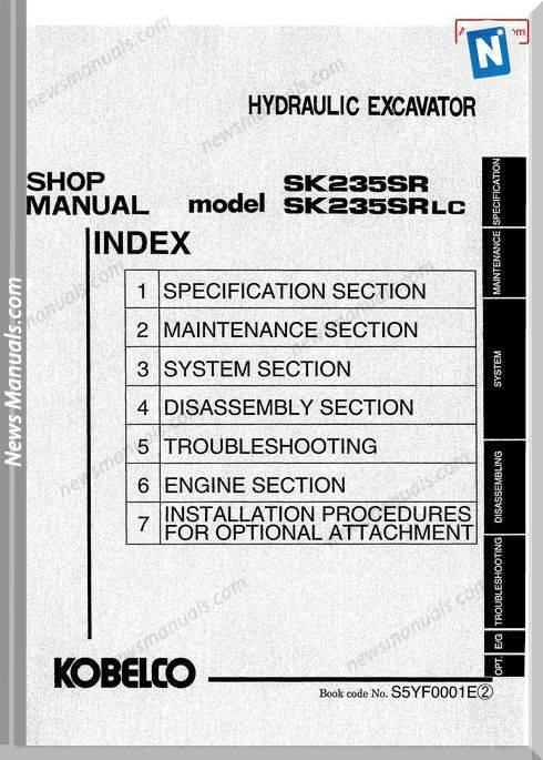 Kobelco Sk235Sr Sk235Srlc Shop Manual S5Yf0001E Gb