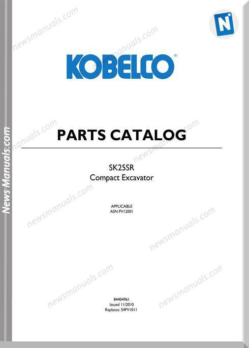 Kobelco Sk25Sr Compact Excavator Parts Manual