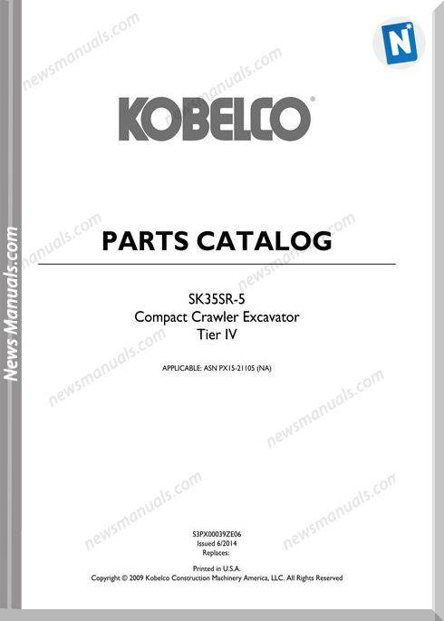 Kobelco Sk35Sr-5 Compact Excavator Parts Manual