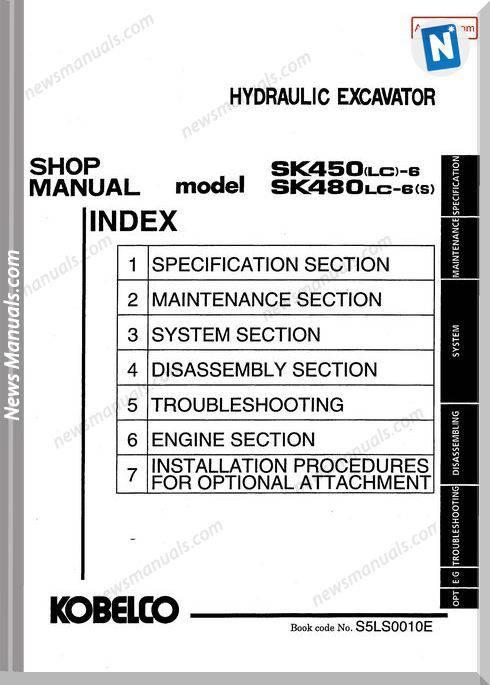 Kobelco Sk450Lc 6 Sk480Lc 6S Shop Manual S5Ls0010E Gb