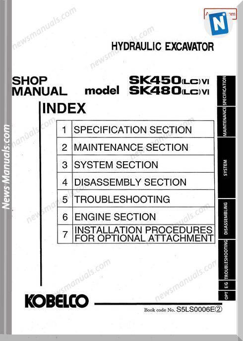 Kobelco Sk450Lc Vi Sk480Lc Vi Shop Manual S5Ls0006E Gb