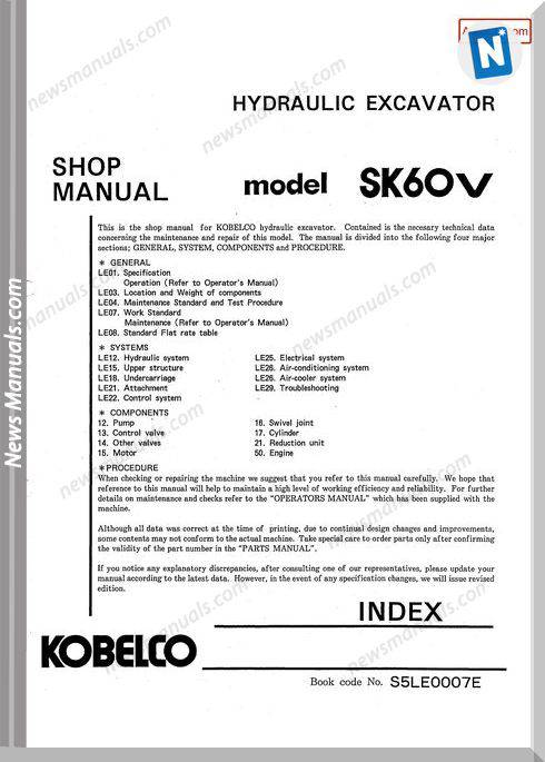 Kobelco Sk60V Hydraulic Excavator No S5Le0007E